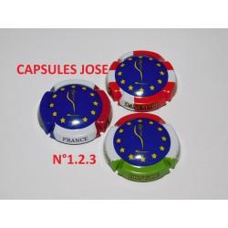 "SERIE DE 3 CAPSULES DE CHAMPAGNE - GENERIQUE  ""Europe - N°1.2.3"""