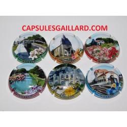 SERIE DE 6 CAPSULES DE CHAMPAGNE GAILLARD.J (Loivre village fleuri)