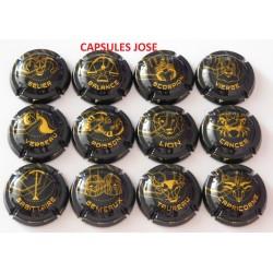série de 12 capsules de champagne GENERIQUE (Astrologie)